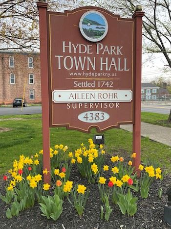 Hyde Park Town Hall Sign with Daffodils